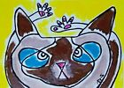"""Original ACEO Cat Painting """"Siamese Stretch"""" Miniature Art By Samantha McLean"""