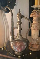 Antique Persian hand forged silver over copper vessel pitcher ewer #2