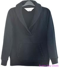 J Crew Womens Top Sweatshirt Shawl Collar Popover Kangaroo Pocket 88699 Blue M