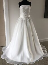Princess Wedding Dress An Ivory Satin And Organza With Lace Appliqué Size 10/12