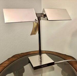 RALPH LAUREN AGATHA O' BANKERS DUAL Double Chrome Silver Banker's DESK LAMP NWT