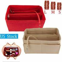 S/M/L Multi-Pocket Insert Bag Felt Fabric Purse Handbag Bag Liner Tote Organizer