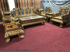 Bronze Cloisonne Enamel Stool Chair Table Sofa Phoenix Dragon Home Furniture Set