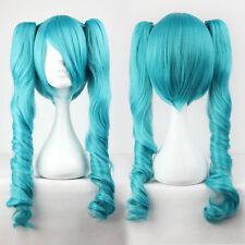 Gewellte lange Perücken & Haarteile in Blau Echthaar-Kunst