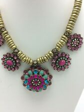 Betsey Johnson Boho Cluster Flowers Crystals Statement Necklace Bh-3