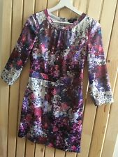 Ladies H&M purple pink teal watercolour floral print pencil dress Size 12 10 38