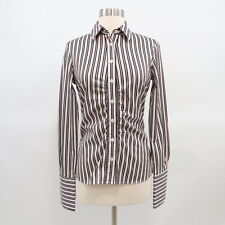Thomas Pink Blouse Shirt Top US6 Fitted Ruched Striped Pink Black Cotton Stretch