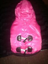 NWT Pink  Dog Coat~w/ fur hood~SMALL Clothes~Costume~Toy Warm 4 Christmas
