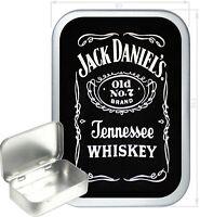 Jack Daniels Gift Box,150ml Silver Hinged Tin, Tobacco Tin, Storage Tin