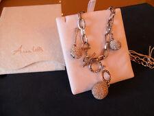Parure collana con orecchini argento modello Chanel con palline Swarovsky
