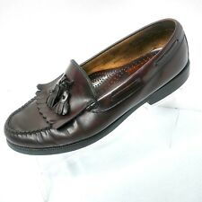 Bass Mens Shoes Loafers Tassel Burgundy Leather Size 9.5 Medium