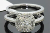 10K WHITE GOLD .97 CARAT WOMENS REAL DIAMOND ENGAGEMENT RING WEDDING BAND SET