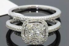 10K WHITE GOLD .97 CARAT WOMENS REAL DIAMOND ENGAGEMENT RING WEDDING BAND SET