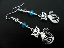 A PAIR OF TIBETAN SILVER & BLUE CRYSTAL BEAD  CAT  EARRINGS. NEW.