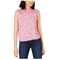 Maison Jules Women's Blouse Smocked Ruffled Printed Top Daffodil Dreams Pink M