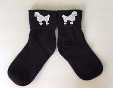 Black Bobby Socks Girls Sz Med White Poodle Appliqué Shoe Size 9 to 1-1/2