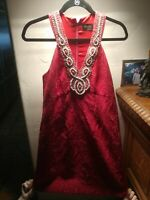 NWT Laundry By Shelli Segal  beaded necklne Red  Halter Dress Size 0