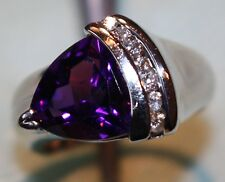 Trillion AMETHYST & DIAMONDS in 14kt White Gold RING, Russian Gem Custom Design