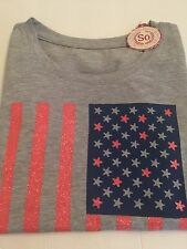 ✔️✔️So® Girls Top Shirt Patriotic Glitter Sparkly Flag Print Clothes Sz 10 Tee