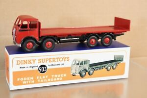 DINKY TOYS 503 REPAINTED RED BLACK FODEN FLAT TRUCK with TAILBOARD nw