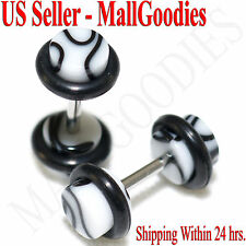 2013 White Marble Fake Cheater Illusion Faux Ear Plugs 16G Bar 4G = 5mm - 2pcs