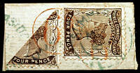 Prince Edward Island #9 4d Black 1868-70 XF Bisect with #9 on Piece RARE STAMPS
