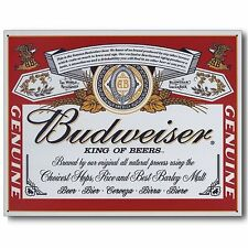 Budweiser Bud Beer Label Vintage Retro Can Advertising Anheuser Metal Tin Sign