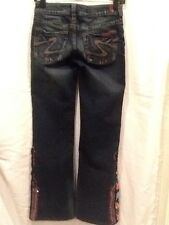 "Custom Embellished SILVER TIA  Jeans - 26/35 Tag - 26"" x 31"" Actual"