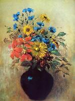 """Odilon Redon Flowers from a field Abstract Art CANVAS PRINT poster 24""""X16"""""""
