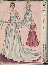 Vintage 50s McCALLs 9266 WEDDING BRIDAL EVENING BRIDE DRESS GOWN Sewing Pattern