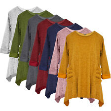 New Ladies Italian Lagenlook Jumper Cardigan Pockets Winter Tunic Top Plus Size