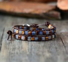 Crystal Bead Friendship Bracelet Wrap Surf Beach Blue/Brown Chakra Leather Agate