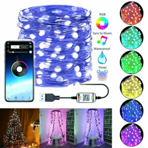 New Christmas Trees Fairy Lights App Remote Control LED String Lamps Party Decos