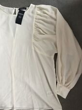 M&S IVORY SMART BLOUSE WITH WIDE GATHERED SLEEVES FROM BODY TO CUFFS -16 - BNWT