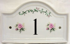 Majestic Rose House Door Number Plaque Roses Ceramic House Sign Any Number