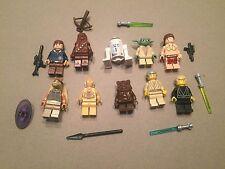 LEGO lot of 10 Star Wars Good Guy Minifigs Yoda Luke Leia Han R2-D2 Chewie K340