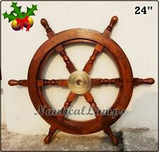 """Nautical Look Ship Wheel 24"""" Wooden and Brass Wall Decor"""