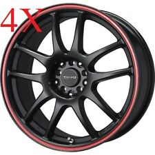 Drag DR31 17x7 5x100 5x114 Flat Black w/ Red Stripe Rims For MDX NSX RSX TSX TL