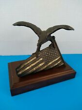 Artist WALLY SHOOP Cast Bronze EAGLE Sculpture American Flag USA