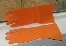 """3 Pairs Industrial Orange Natural Rubber Latex Gloves - 20 mils thick 14"""" Long"""