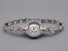 Vintage Deco Platinum 1.75ct Diamond Hamilton Manual Bracelet Watch 17J 995A