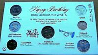 1963-1965 World Coin Happy Birthday Gift Set Mixed Dates 7 Countries BU Coins