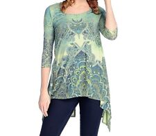 ONE WORLD PRINTED EMBELLISHED GREEN 3/4 SLEEVE SPLIT BACK KNIT TUNIC & TANK 1X
