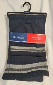 Nautica Men's Hat & Scarf Set, Black with Gray Stripe, Acrylic FREE SHIPPING!