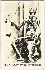 1941 Political Satire W.P.A. Worker Skeleton American Real Photo Postcard