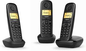 TRIO 3X TELEFONO INALAMBRICO NEGRO AGENDA 50 CONTACTOS GRAN AUTONOMIA GIGASET