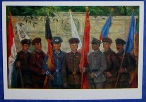 1982 SOVIET MILITARY POSTCARD pic The Warsaw Treaty SOLDIERS FLAGS mil 363b