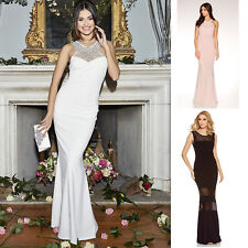 New Ladies Quiz Wedding Evening Party Embellished Fishtail Diamante Bridal Dress
