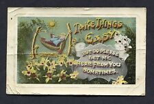 """Illustrated Greetings Card With Man on a Hammock """"Take Things Easy"""" Stamp - 1908"""