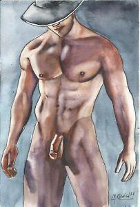 """"""" NUDE MALE cowboy 198/21 gay interest"""" Original Watercolor by M. GRACIA"""